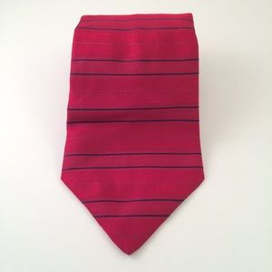 Tommy Hilfiger Red and Navy Striped Men's Tie